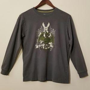 Boy's(L),Old Navy, Dark Grey, L/S, Graphic T-Shirt